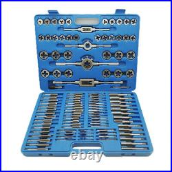 110pc Tap & Die Set Metric Screw Extractor Thread Taper Wrench Drill Tool Kit
