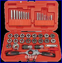 40Pc. Metric Tap & Die with Gear Ratchet Wrench T&E Tools TD40BM