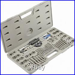 60pc Large MM Metric Sae Tap And Die Threading Tool Set Steel Metal Threader Kit