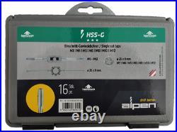 Alpen Tool HSS-G Taps Dies Set 16 Pc Single Cut Taps Matric M3-M12 Plastic Box