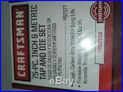 Craftsman 75 pc. Inch & Metric Tap & Die Carbon Alloy Steel Set. 52377 BRAND NEW