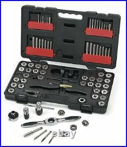 GearWrench 3887 Ratcheting Tap Die Set Sae Metric Auto Locking 75 Pc Silver New