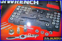 KD GearWrench 3887 75 Pc Tap & Die Set SAE & Metric Combo set with T ratchet hdl
