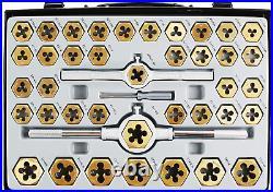 Muzerdo 86-Pcs. Tap & Die Set Bearing Steel SAE/ Metric Tools, Titanium Co NEW