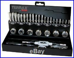 TERRAX 31pcs. Thread Cutting Tools Set, HSS, Hand Taps, Dies M3 M12 Metal Case