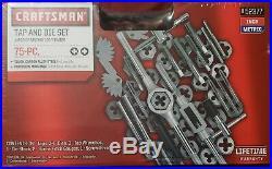 Tap Die Set 75pc Carbon Steel Drive Tools Tool Plug Taps Hex Dies Inch & Metric